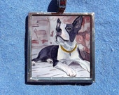 Boston Terrier Pendant from Original Watercolor Painting with free chain Art