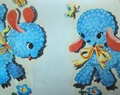 Vintage Duro Decal adorable blue poodles
