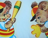 Vintage Duro Decals two adorable Bears playing Baseball
