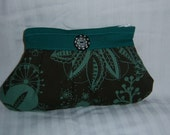 Teal and  brown clutch