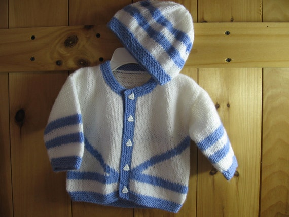 New Hand Knit Boy's White and Blue Cardigan Sweater and Hat Set 3-6 months - Free Shipping