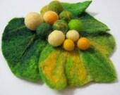 Felted brooch green leaf