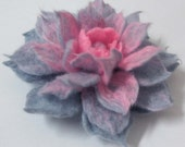 Felted Brooch  grey pink flower