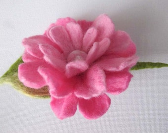 Pink  flower brooch 1