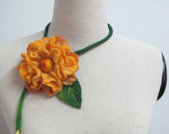 SALE Felted necklace Eco-friendly Statement Yellow flower