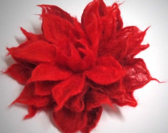 SALE Felted  brooch red flower  Eco-friendly Statement