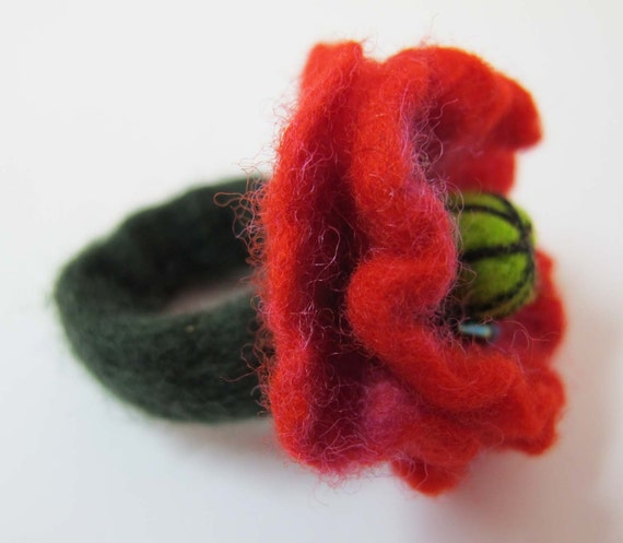Felted  ring red popy flower Feminine Gift For Her,gift idea eco friendly for women OOAK handmade accessories