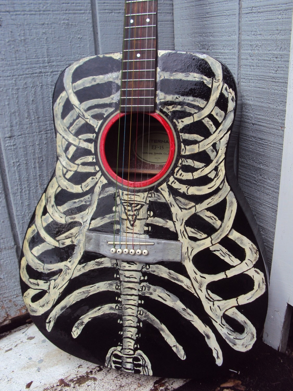 Bare bones hand painted acoustic guitar rib cage for Acoustic guitar decoration