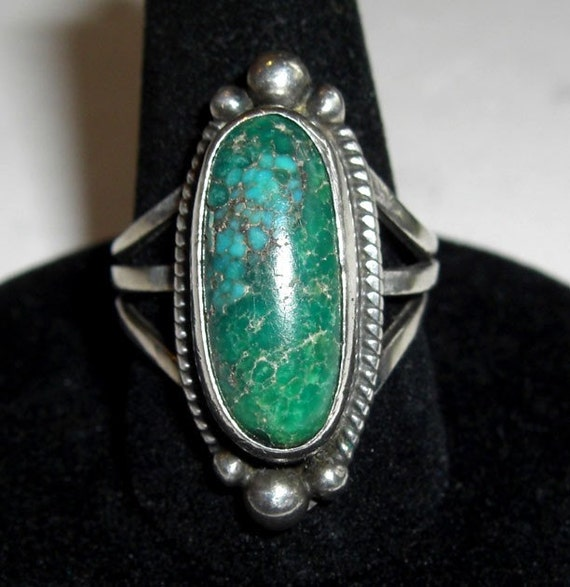 Vintage Navajo Cortez H Sterling And Turquoise Ring