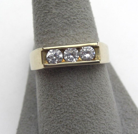 Vintage Brilliant Cut Channel Setting Solid Brass Ring