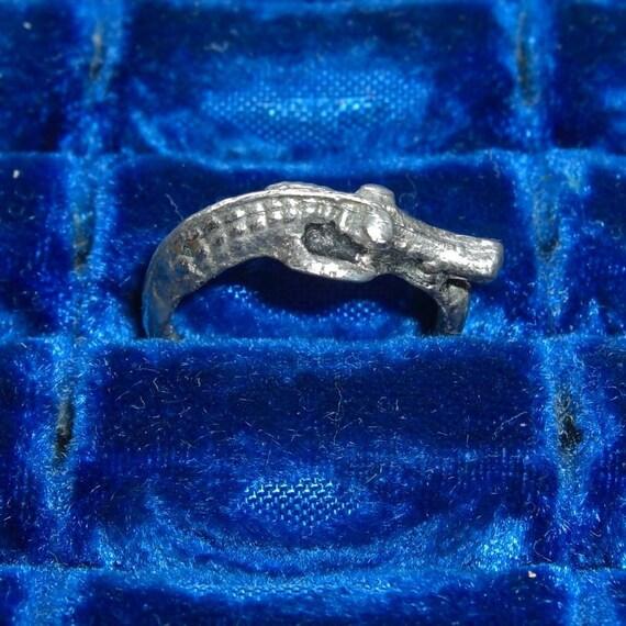 Vintage Silver Alligator Ring - Size 5