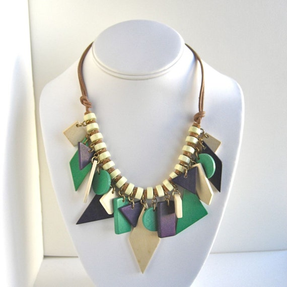 Vintage Leather & Geometric Wood Necklace - green and purple