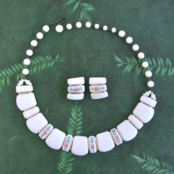 West Germany White Milk Glass Choker w/ Earrings - adjustable necklace