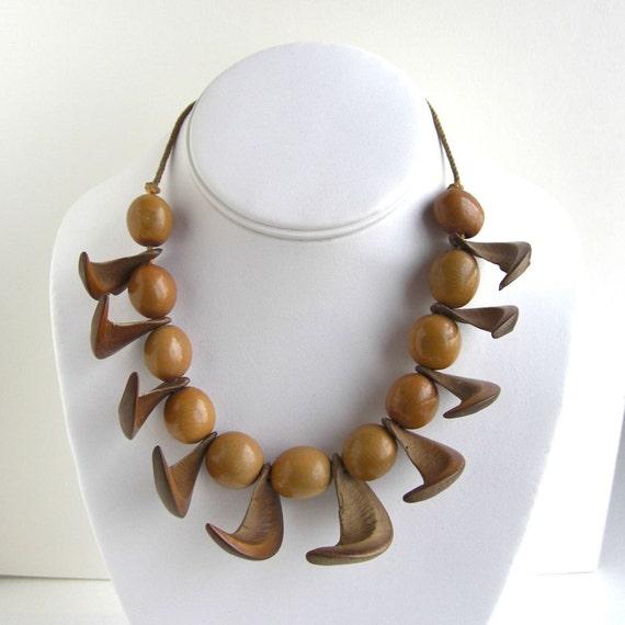 Vintage Handmade Nut Necklace - unique geometric look