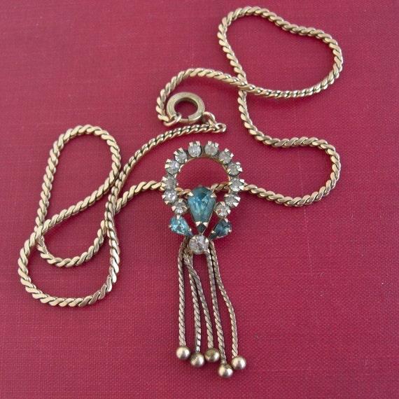 "Scitarelli 12KT GF Rhinestone Necklace - 16"" - Vintage"