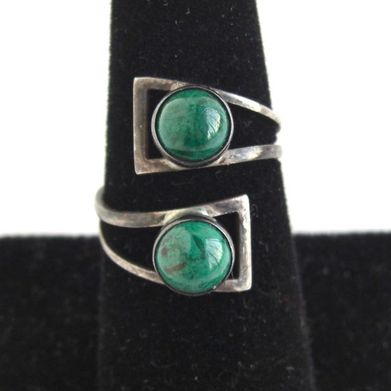 Vintage Israel Eilat Stone & Sterling Silver Bypass Ring - Adjustable