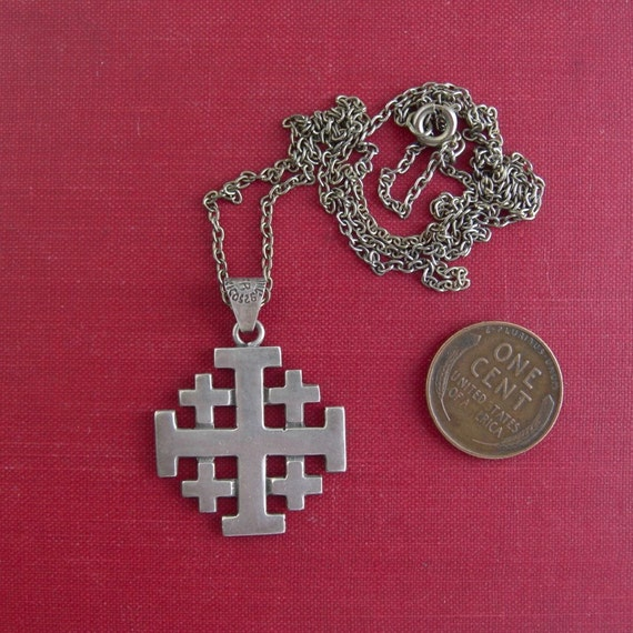 Vintage Sterling Silver Taxco Maltese Cross Necklace