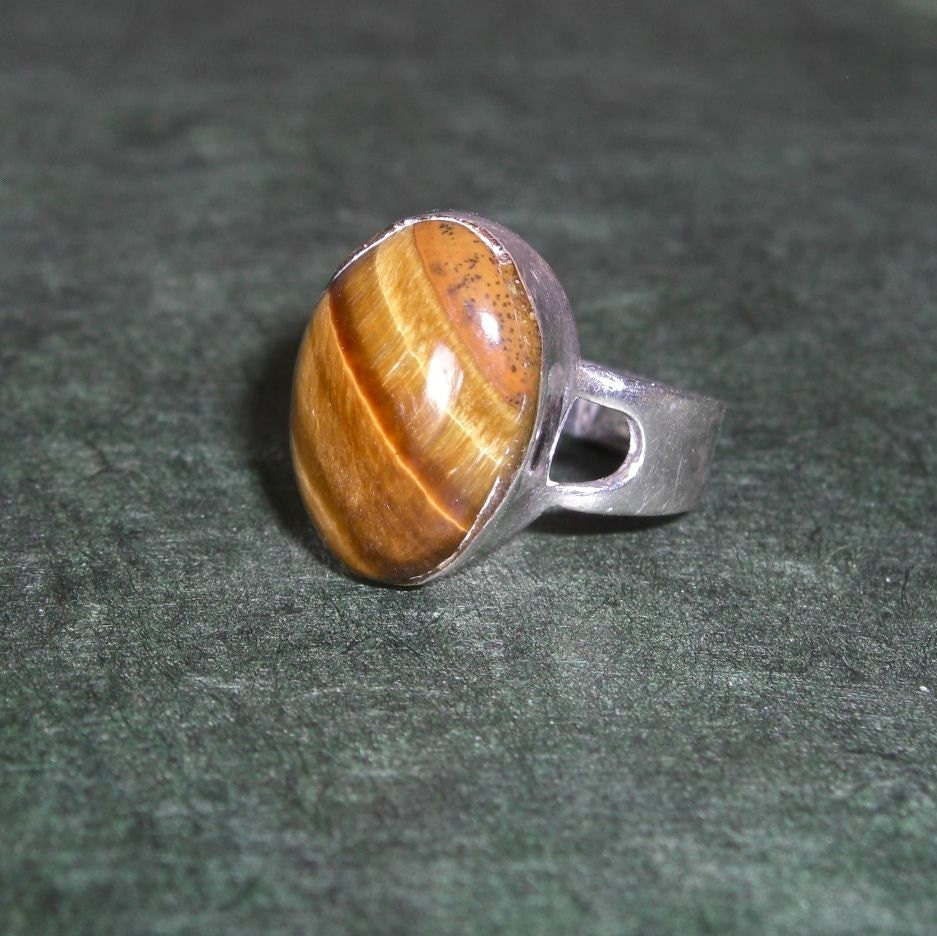 vintage tigers eye sterling silver ring by lucra on etsy