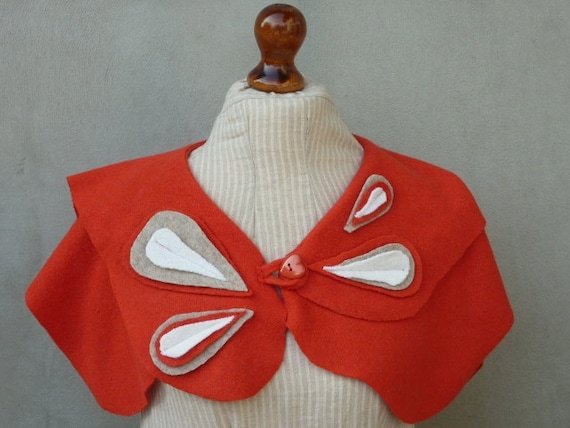 Red Butterfly upcycled recycled capelet made from wool sweater