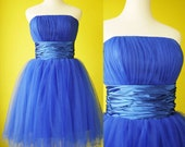 Electric blue bridesmaid dress tulle bandeau romantic retro 50s Cocktail Prom dress Custom Made to Your Size