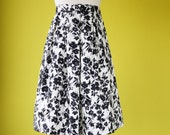 50s french country skirt pleated floral print elasticated waist  - MEDIUM