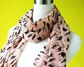 Cat print scarf  pale pink scarf chiffon scarf causal long scarf shawl belt black cat in pink