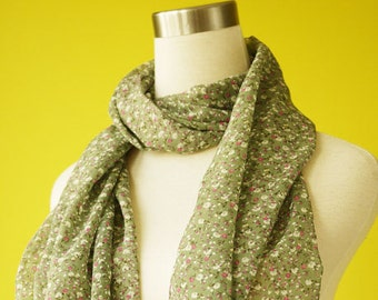 Scarf floral ditsy floral olive green cute causal long Scarf Shawl