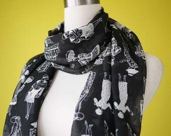 Summer scarf flapper girl retro 20s monogram causal long scarf shawl