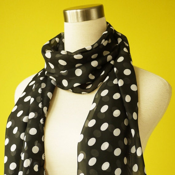 Black Polka Dot scarf classic french chiffon causal long scarf shawl belt