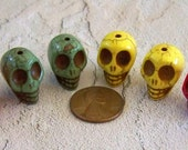 Red, Yellow, and Green Skull Stone Beads