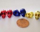 Tiny Red, Yellow, Cobalt Blue, and Black Colored Stone Skull Beads
