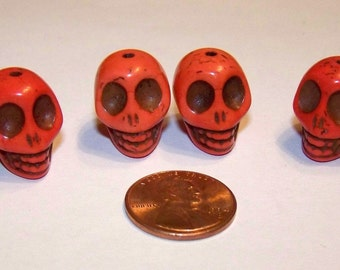 Coral Colored Skull Stone Beads