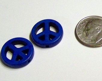 Small Cobalt Blue Stone Peace Sign Beads Perfect for Earrings