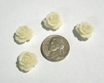 Rose Flower Tiny Cream Colored Acrylic