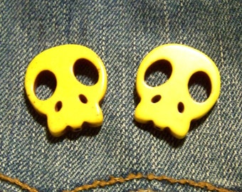 Large Bright Yellow Stone Flat Skull Beads