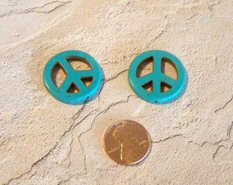 Turquoise Peace Sign Beads