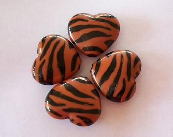 Heart Four Lucite Brown Zebra Beads