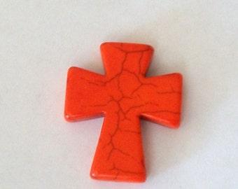 Medium Bright Orange Stone Cross