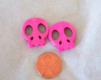 Skull Pink Flat Howlite Stone Beads Awesome