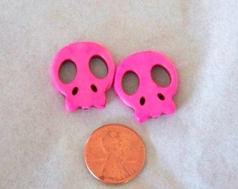 AwwwweSOME Hot Pink Flat Stone Skull Beads