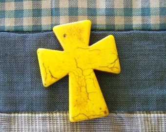 Large Sunshine Yellow Howlite Cross
