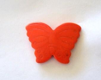 Butterfly Giant Bright Orange Howlite Stone Bead
