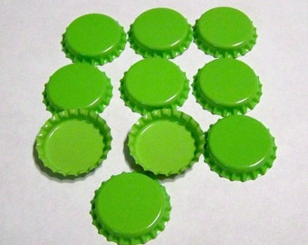 Bottle Caps Lime Green Double Sided for Pendants, Necklaces, Jewelry