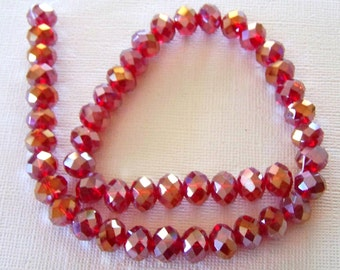 Brilliant Red Rose Petal in a Bead Crystals Strand