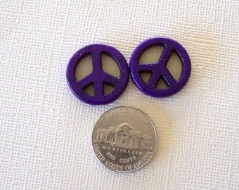 Small Deep Purple Stone Peace Sign Beads