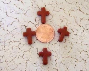 Tiny Chocolate Brown Howlite Crosses