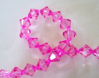Bright Pink Acrylic Bicone Strand