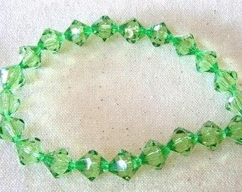Bright Green Acrylic Bicone Strand