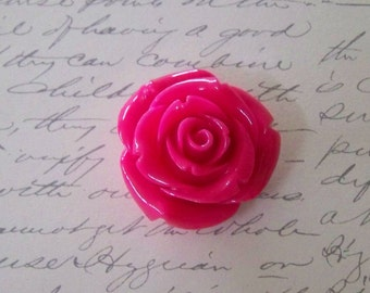 Medium Deep Pink Acrylic Rose Bead