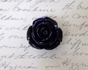 Medium Black Acrylic Rose Bead